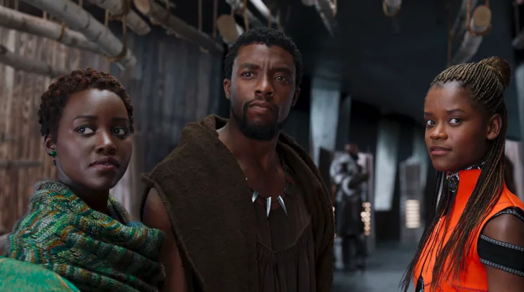 What It's About: After the untimely death of his father, T'Challa, the prince of the secret country of Wakanda, must take his rightful place on the throne.What It's Nominated For: Best Picture, Costume Design, Original Score, Original Song, Production Design, Sound Editing, and Sound Mixing.